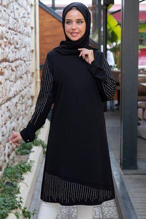 Siyah Taş Detaylı Tunik - ES15395 - Thumbnail