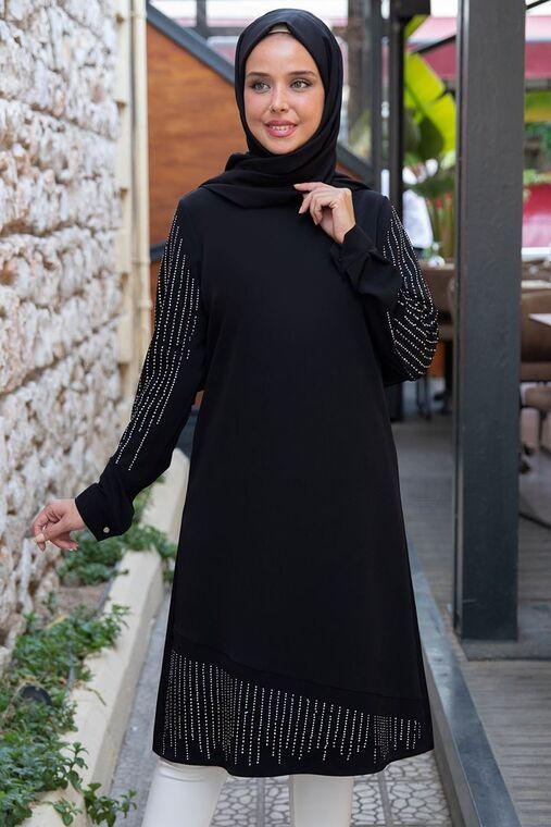 Siyah Taş Detaylı Tunik - ES15395