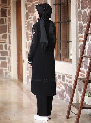 Siyah Taşlı Eşofman Takım - ADC14631 - Thumbnail