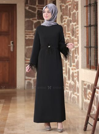 Emsale - Siyah Tüy detaylı Elbise - ES14555