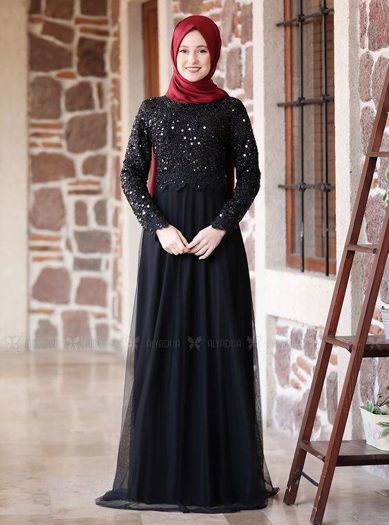 Alyadua - Siyah Üzeri Pullu Abiye - ADC14595