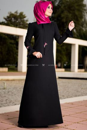 Alyadua - Siyah Valon Kol Elbise - NC11842