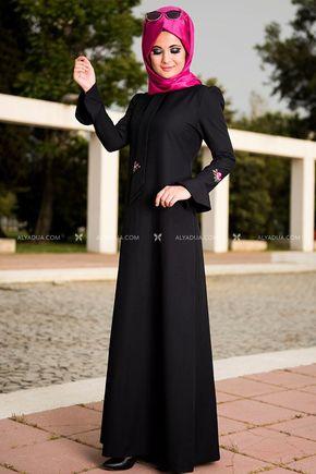 Siyah Valon Kol Elbise - NC11842 - Thumbnail