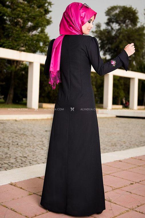 Siyah Valon Kol Elbise - NC11842