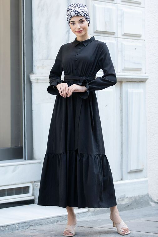 Piennar - Siyah Vera Büzgülü Elbise - PN15599