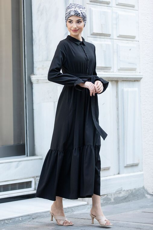 Siyah Vera Büzgülü Elbise - PN15599