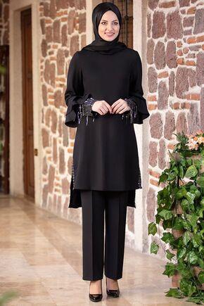 Fashion Showcase - Siyah Volan Kol Payet Detay Takım - FS15502
