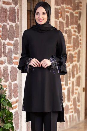 Siyah Volan Kol Payet Detay Takım - FS15502 - Thumbnail