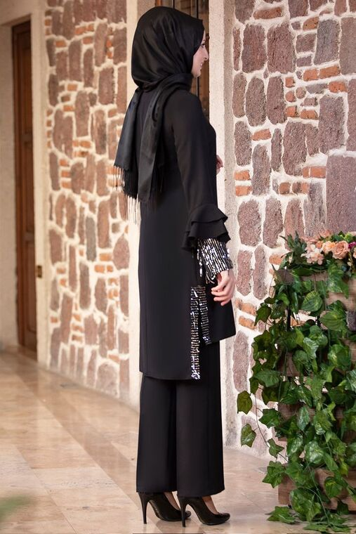 Siyah Volan Kol Payet Detay Takım - FS15502