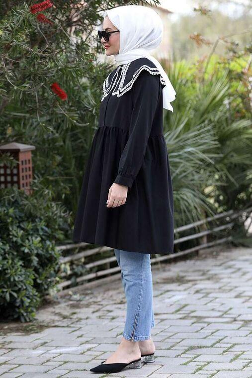 Seda Tiryaki - Siyah Yakası Dantelli Tunik - ST15926