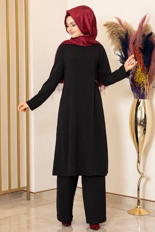 Fashion Showcase - Siyah Yandan Tokalı Aerobin Takım - FS15860