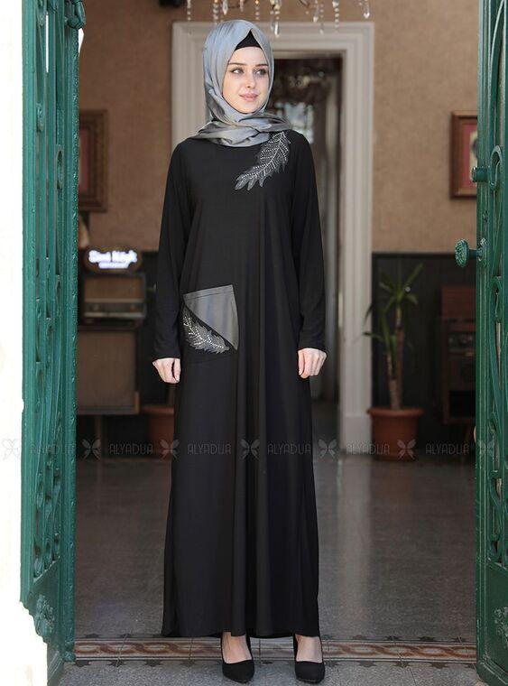 Emsale - Siyah Yaprak Elbise - ES15153