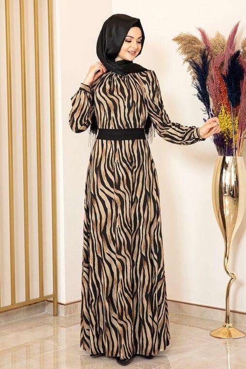 Fashion Showcase - Siyah Zebra Desen Tül Elbise - FS16200