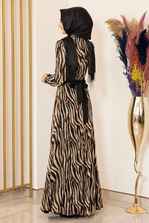 Siyah Zebra Desen Tül Elbise - FS16200