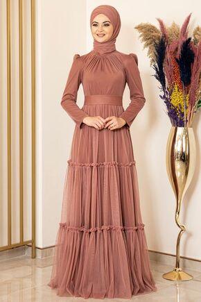 Fashion Showcase - Soğan Kabuğu Eteği Fırfırlı Tül Abiye - FS16018