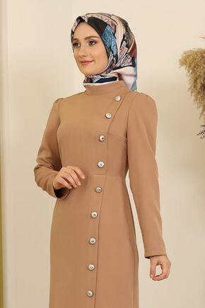 Taba Düğme Detay Manolya Elbise - FS16313 - Thumbnail