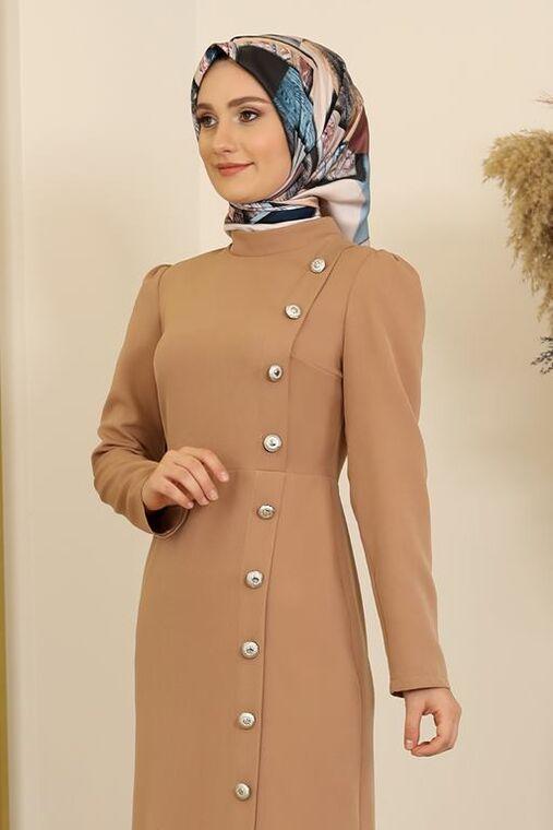 Taba Düğme Detay Manolya Elbise - FS16313