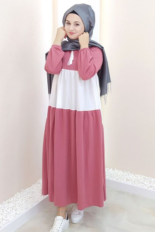 Selma Sarı - Pudra Farah Elbise - SES15383