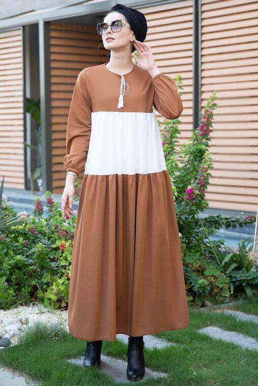 Selma Sarı - Taba Farah Elbise - SES15382