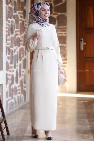 Taş Balon Kol Elbise - AD13498 - Thumbnail