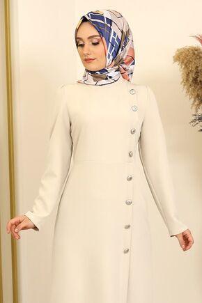 Taş Düğme Detay Manolya Elbise - FS16311 - Thumbnail