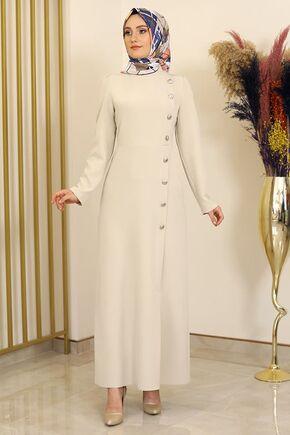 Fashion Showcase - Taş Düğme Detay Manolya Elbise - FS16311