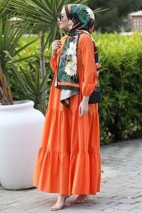 Turuncu Alaçatı Elbise - ST15898 - Thumbnail