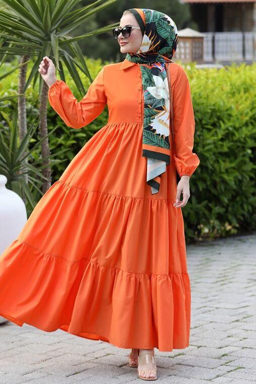 Seda Tiryaki - Turuncu Alaçatı Elbise - ST15898
