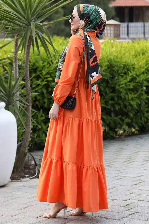 Turuncu Alaçatı Elbise - ST15898