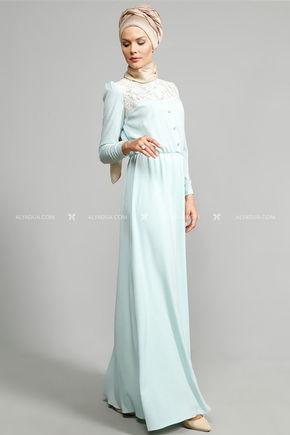 - Ulviye Portakal - Mint Dantelli Elbise (1)