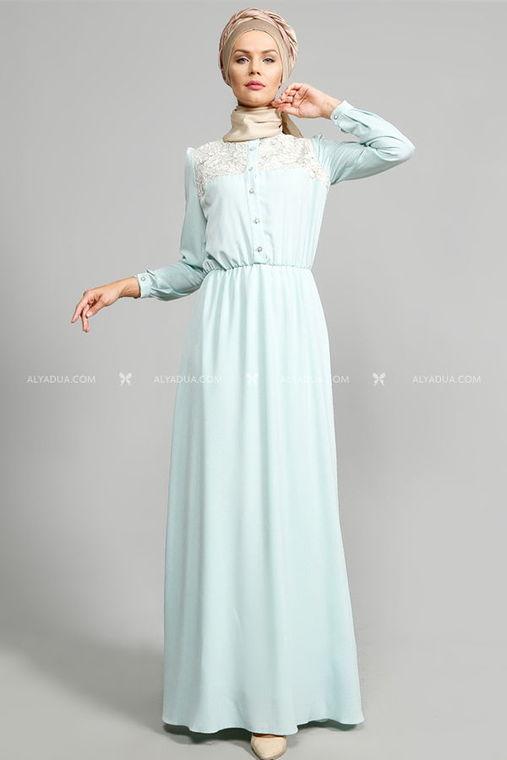 Alyadua - Ulviye Portakal - Mint Dantelli Elbise