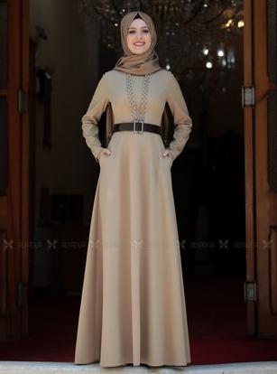 Semra Aydın - Vizon Ada İncili Elbise - SA14258