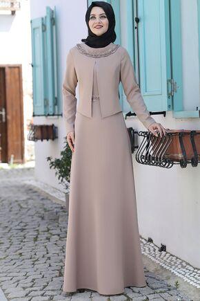 Ahunisa - Vizon Ayliz Elbise - AHU15952