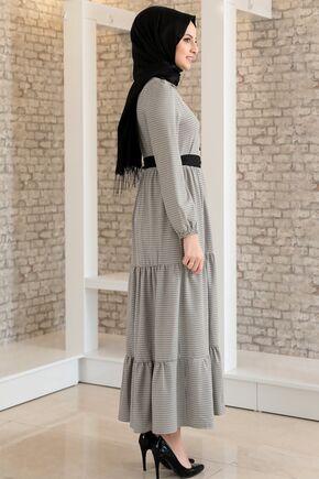 Vizon Kare Desen Fırfırlı Elbise - FS15700 - Thumbnail