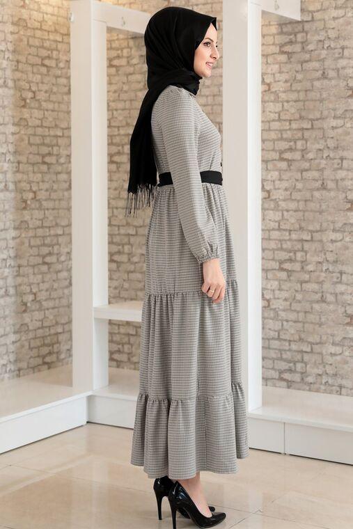 Vizon Kare Desen Fırfırlı Elbise - FS15700