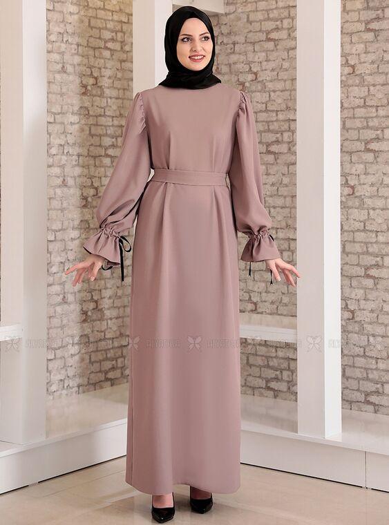 Fashion Showcase - Vizon Kolu Bağcıklı Tesettür Elbise - FS15218
