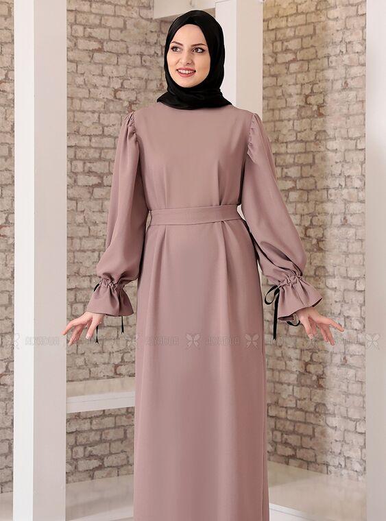 Vizon Kolu Bağcıklı Tesettür Elbise - FS15218