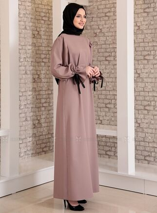 Vizon Kolu Bağcıklı Tesettür Elbise - FS15218 - Thumbnail