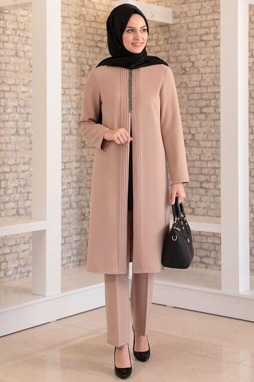 Fashion Showcase - Vizon Nervürlü Taş Detay İkili Takım - FS15982