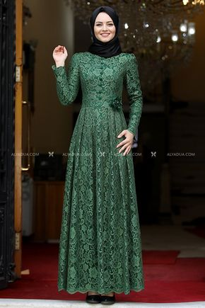 Yeşil Henna Abiye - AHU13994 - Thumbnail
