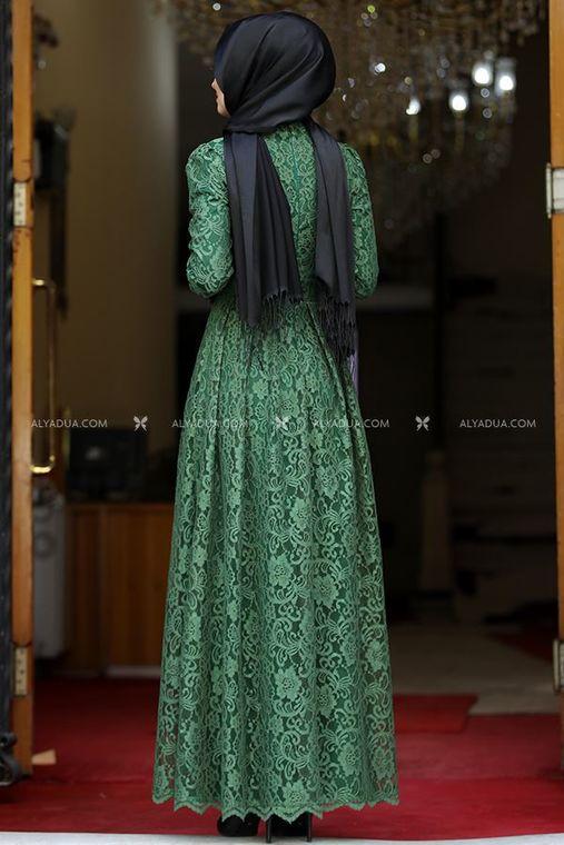 Ahunisa - Yeşil Henna Abiye - AHU13994 (1)