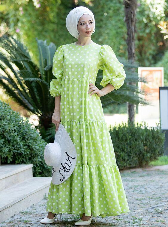 Lefzen - Yeşil Puantiyeli Elbise - LF15378