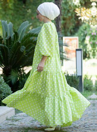 Yeşil Puantiyeli Elbise - LF15378 - Thumbnail