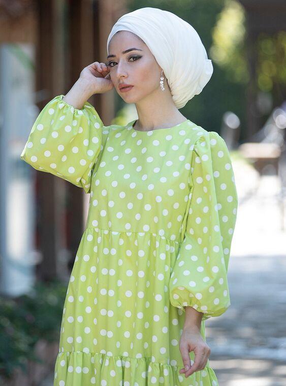 Yeşil Puantiyeli Elbise - LF15378