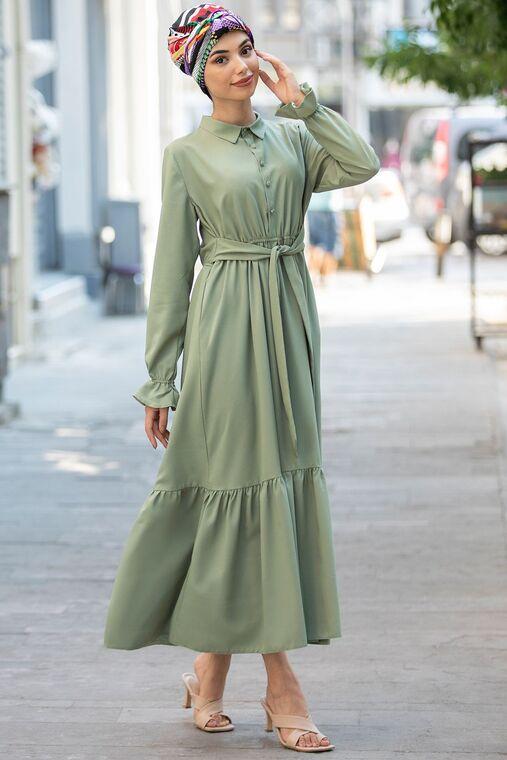 Piennar - Yeşil Vera Büzgülü Elbise - PN15598