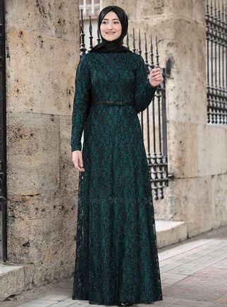 Rabeysa - Zümrüt İpek Elbise - RS15022