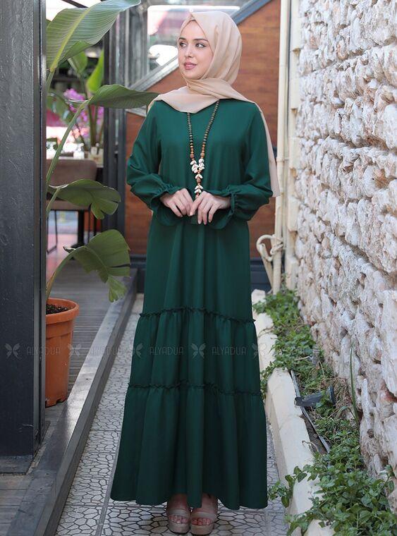 Emsale - Zümrüt Kaktüs Elbise - ES15316