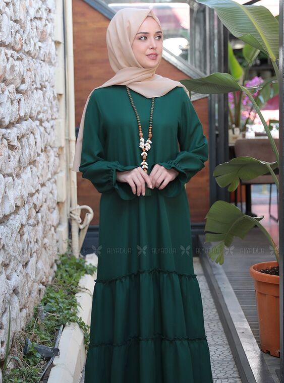 Zümrüt Kaktüs Elbise - ES15316