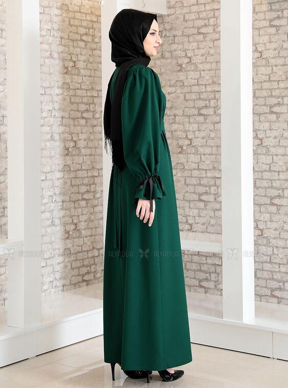 Zümrüt Kolu Bağcıklı Tesettür Elbise - FS15216