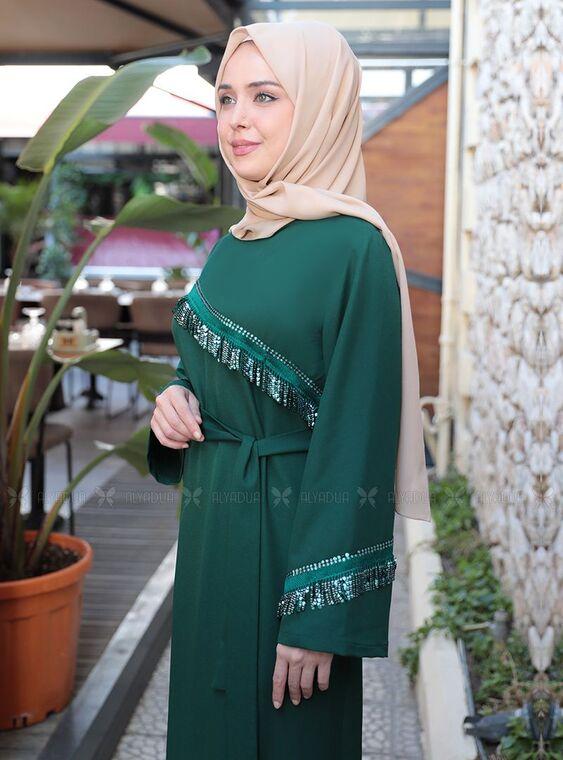 Zümrüt Püskül Şeritli Elbise - ES15160